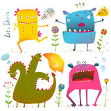 Fun Cute Kind Monsters For Children Design Stock Image