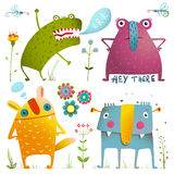 Fun Cute Little Monsters for Kids Design Colorful. Amazing fictional creatures design elements isolated on white. EPS10 vector has no background color Royalty Free Stock Images