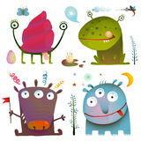 Fun Cute Little Monsters for Kids Design Colorful. Amazing fictional creatures design elements isolated on white. EPS10 vector has no background color Stock Photography
