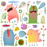 Fun Cute Monsters for Kids Design Colorful. Bright imaginary creatures design elements set isolated on white. EPS10 vector has no background color Royalty Free Stock Image