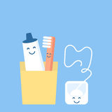 A fun and cute set for hygiene of oral cavity tooth Stock Photo