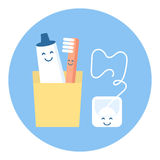 A fun and cute set for hygiene of oral cavity tooth. Stock Photo