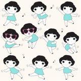 Fun Dancing Girls Character illustration Royalty Free Stock Photography