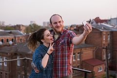 Fun day on roof. Modern technology Royalty Free Stock Photos