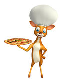 Fun Deer cartoon character with chef hat and pizza Stock Photography