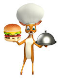 Fun Deer cartoon character , cloche and chef hat. 3d rendered illustration of Deer cartoon character with burger, cloche and chef hat Stock Images
