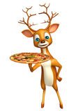 Fun Deer cartoon character with pizza Stock Images