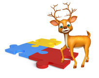 Fun Deer cartoon character with puzzel Royalty Free Stock Photos