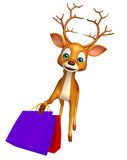 Fun Deer cartoon character shopping bag Royalty Free Stock Photography