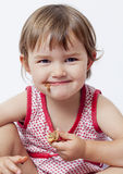 Fun delight in eating sweet chocolate for happy children Stock Image