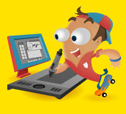 Fun Designer with tablet Royalty Free Stock Photography