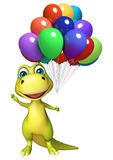 Fun Dinosaur cartoon character with balloons Royalty Free Stock Photos