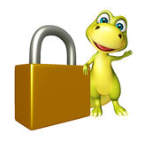 Fun Dinosaur cartoon character  with lock Royalty Free Stock Images