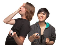 Fun Diverse Couple Playing Video Game stock photos