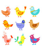 Fun doodle birds and cocks Royalty Free Stock Photography
