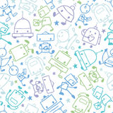 Fun doodle robots seamless pattern background Royalty Free Stock Photos