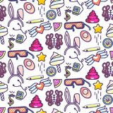 Fun doodles vector icons seamless pattern. stock illustration
