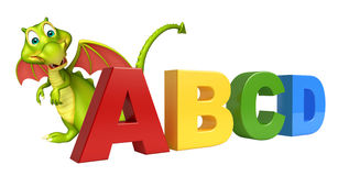 Fun Dragon cartoon character with ABCD sign Royalty Free Stock Image