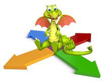 Fun Dragon cartoon character with arrow sign. 3d rendered illustration of Dragon cartoon character with arrow sign Royalty Free Stock Photography
