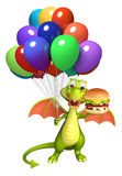 Fun Dragon cartoon character with burger and balloon. 3d rendered illustration of Dragon cartoon character with burger and balloon Royalty Free Stock Image