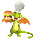 Fun Dragon cartoon character with burger and chef hat. 3d rendered illustration of Dragon cartoon character with burger and chef hat Royalty Free Stock Image