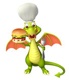 Fun Dragon cartoon character with burger and chef hat. 3d rendered illustration of Dragon cartoon character with burger and chef hat Royalty Free Stock Images