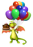Fun Dragon cartoon character with cake  and balloon. 3d rendered illustration of Dragon cartoon character with cake  and balloon Stock Photos