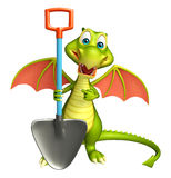 Fun Dragon cartoon character  with digging shovel Stock Images