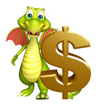 Fun Dragon cartoon character with doller sign Stock Images