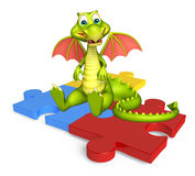 Fun Dragon cartoon character Dragon cartoon character with puzzl Stock Photo