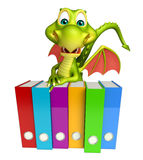 Fun Dragon cartoon character  with files. 3d rendered illustration of Dragon cartoon character with files Royalty Free Stock Images