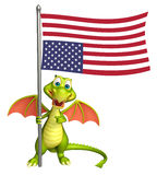 Fun Dragon cartoon character with flag. 3d rendered illustration of Dragon cartoon character with flag Royalty Free Stock Photos