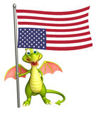 Fun Dragon cartoon character with flag. 3d rendered illustration of Dragon cartoon character with flag Stock Image