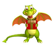 Fun Dragon cartoon character with gift box. 3d rendered illustration of Dragon cartoon character with gift box Royalty Free Stock Image