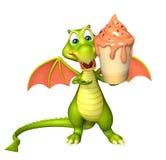 Fun Dragon cartoon character  with ice cream Stock Photos