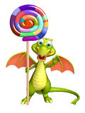 Fun Dragon cartoon character  with lollypop Royalty Free Stock Photos