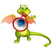Fun Dragon cartoon character with loudspeaker Stock Photo