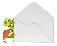 Fun Dragon cartoon character with mail Royalty Free Stock Images