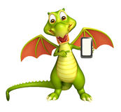 Fun Dragon cartoon character with mobile Royalty Free Stock Images