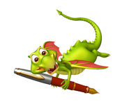 Fun Dragon cartoon character with pen Stock Images