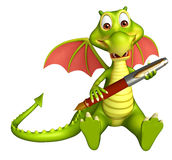 Fun Dragon cartoon character with pen Stock Photography
