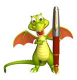 Fun Dragon cartoon character with pen. 3d rendered illustration of Dragon cartoon character with pen Stock Images