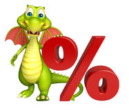 Fun Dragon cartoon character with percentage sign Royalty Free Stock Photo