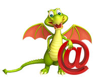 Fun Dragon cartoon character with at the rate sign Stock Image