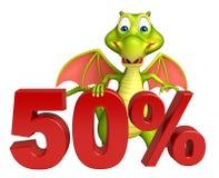Fun Dragon cartoon character with 50% sing Stock Photo