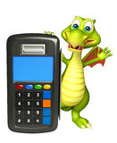 Fun Dragon cartoon character with swap machine Royalty Free Stock Image