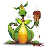 Fun Dragon Cartoon with melted Ice Cream. Fun, naughty Dragon Cartoon holding a Chocolate Ice Cream, thinking he could eat it, but his hot breath has melted it Stock Photos