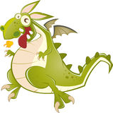 Fun dragon illustration. Fun scary green dragon illustration Royalty Free Stock Photography