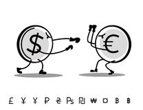 Fun drawn currencies are fighting each other. Dollar attacks Euro vector illustration