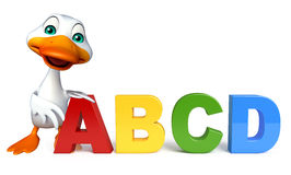Fun Duck cartoon character with ABCD sign. 3d rendered illustration of Duck cartoon character with ABCD sign Stock Images